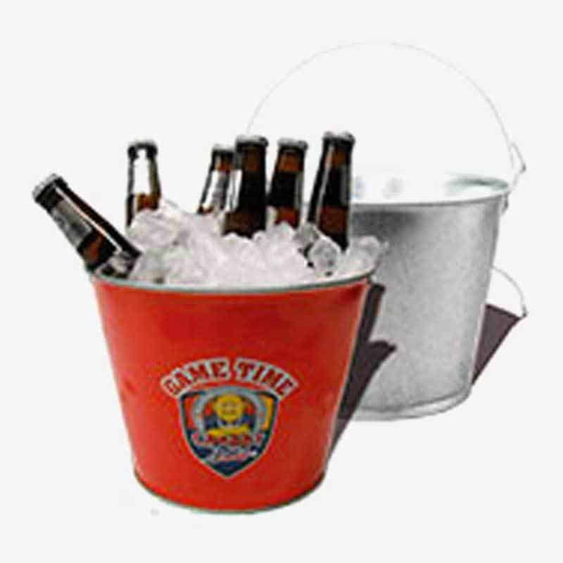 Galvanized Metal Bucket - Custom 5 Qt Tin Beer & Ice Buckets Game Time