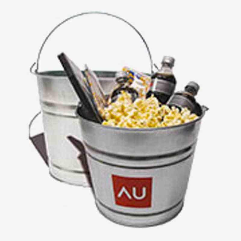 Galvanized Metal Buckets - Custom 8 Qt Tin Movie Buckets