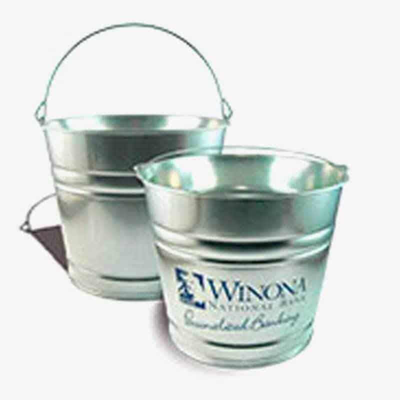 Galvanized Metal Bucket - Custom 10 Qt Tin Buckets Bank Logo