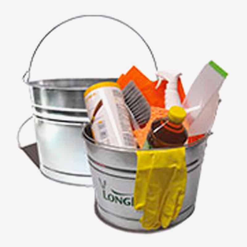 Galvanized Metal Bucket - Custom 17 Qt Tin Cleaning Supplies