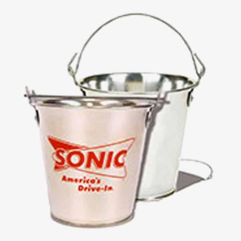 Galvanized Metal Bucket - Custom 55 Oz Small Tin Ice Buckets Logo