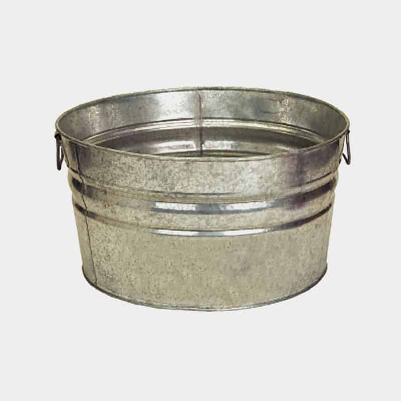 Galvanized Round Metal Tubs - Custom Printed 42 Quart Tub Blank