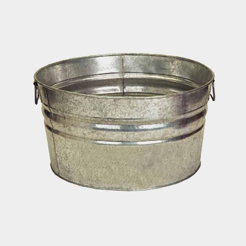 Galvanized Round Metal Tubs - Custom Printed 42 Quart Tub Blank